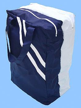 静電気帯電防止クリーンルーム用バッグ鞄(かばん)の濃紺側からの写真です。クリーンルーム用作業服やシューズ靴を入れる袋として使用できます。