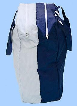 静電気帯電防止クリーンルーム用バッグ鞄(かばん)のファスナー構造を示す写真です。クリーンルーム用作業服やシューズ靴を入れる袋として使用できます。