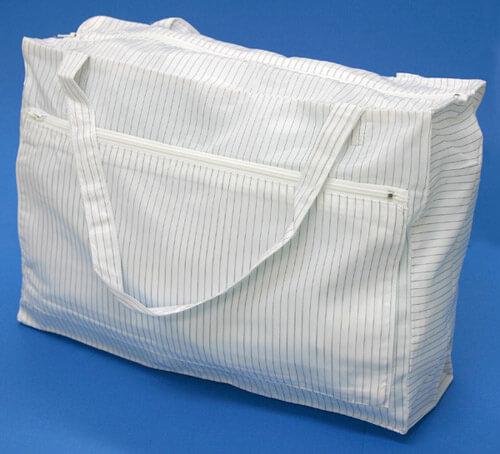 静電気帯電防止クリーンルーム用バッグ鞄(かばん)です。クリーンルーム用作業服やシューズ靴を入れる袋として使用可能。