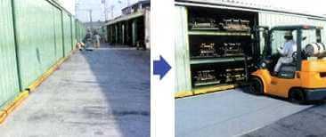 すべり止め塗料を塗って、板やコンクリート坂道でのフォークリフトのスリップ事故を防止する。