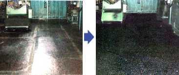 すべり止め塗料を塗って、粉が落ちたコンクリート床面で歩行者がスリップ転倒での労災を防止する。