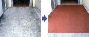 土間コンクリートにすべり止め塗料を塗ると、フォークリフトがスリップしません。