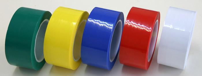 クリーンルーム用ラインテープは、紙管がプラスチック芯の紙粉が出ない粘着テープです。