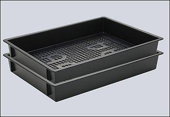 クリーンルーム用トレーは、導電性プラスチック籠容器で、静電気が起きない貯まらない樹脂トレーです。