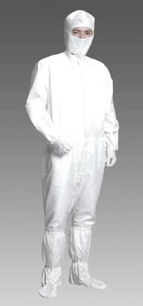 高温でも燃えない溶けない、耐熱性と難燃性がある、帯電防止のクリーンウエアーツナギ服です。
