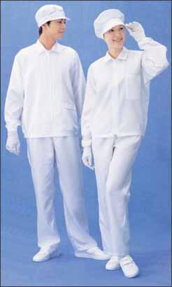 クリーンルーム用の作業服は、異物やホコリが出ない帯電防止の無塵服なので、ESD対策ができます。