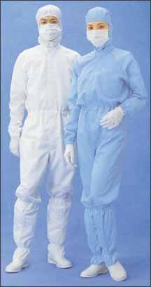 クリーンルーム用作業服は無塵衣や無塵服と言われ、ゴミやホコリが出ない低発塵のESDクリーンスーツです。