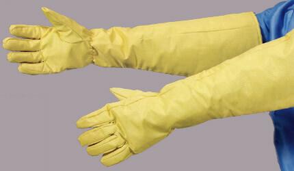 燃えずに高温でも溶けないクリーンルーム用の耐熱手袋は、糸くずやゴミが初塵しない無塵の帯電防止グローブです。
