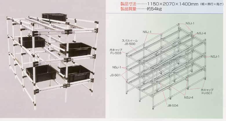 棚の中で荷物が動くフローラックは、パイプを組み立てて簡単に特注製作ができます。